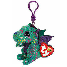 LLAVERO TY GREEN  DRAGON 12 CM
