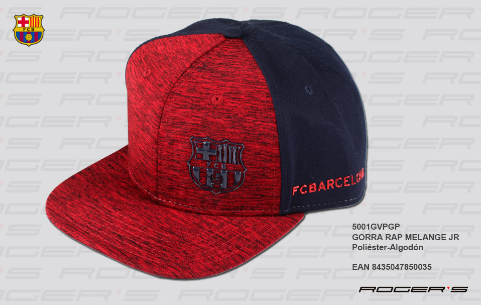 GORRA FCB 17-18 RAP MELANGE JR ( GRANATE )